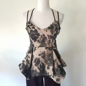 Abi Ferrin Moody Floral Peplum Formal Blouse 2